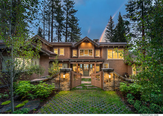 Construction company photo of a front door, home in lake tahoe