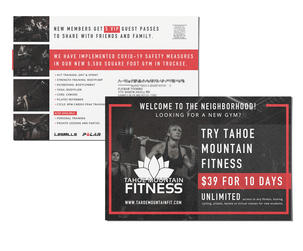 Red and black fitness mailer