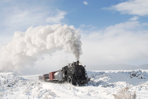 Ely nevada train through snow in the winter