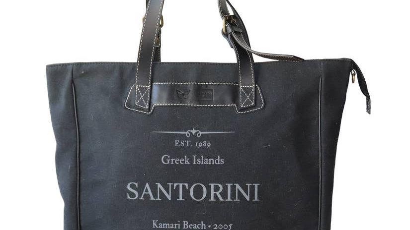 Santorini Black & Black XL tote Attache
