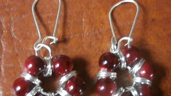 Garnet Beads Sterling Earrings