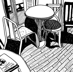 Madrid Hostel Chairs 1 8x8in pen on pape