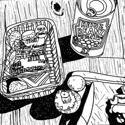 Mushrooms and beans 8x8in pen on paper