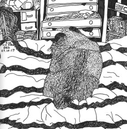 Zim sleeping on Arons bed 8x8in pen on p