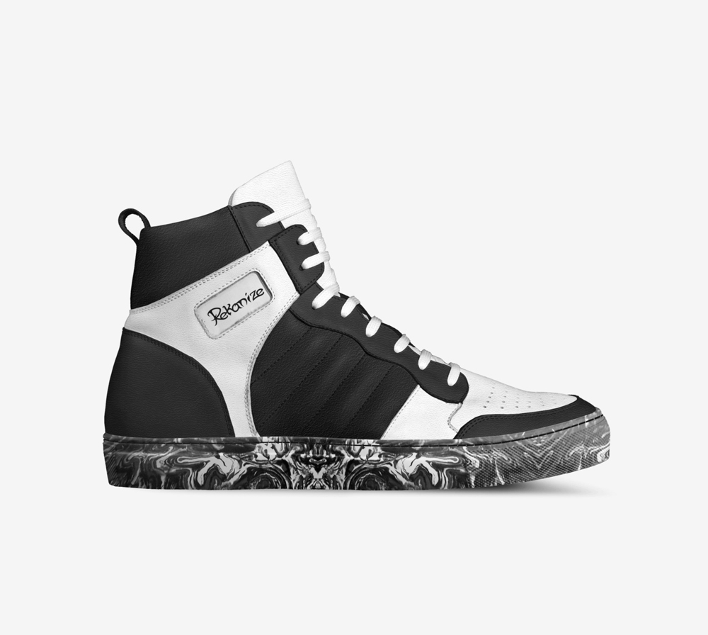 Rekanize black and white high top sneakers