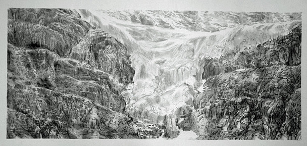 Glacier, charcoal on paper, 80x40 cm