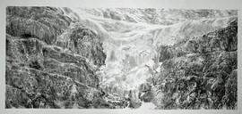 Glacier, charcoal on paper, 80x40 cm