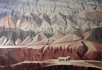 Flaming Mountains, Oil on Linen, 68x48 inches