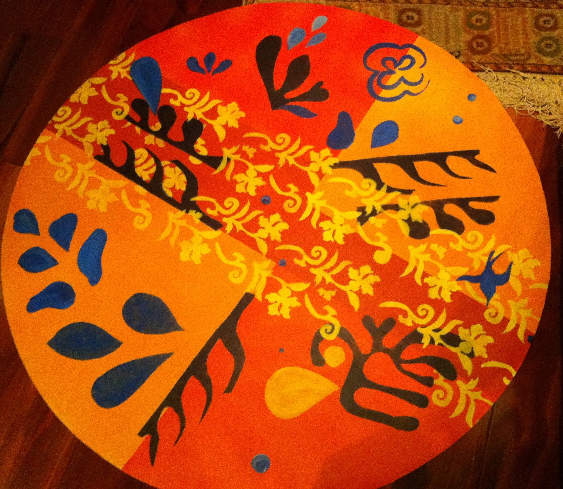Carpet inspired by Matisse 2011- Acrylic on linoleum 36_ diameter