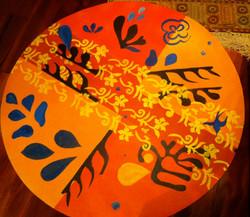 Carpet inspired by Matisse 2011- Acrylic on linoleum 36_ diameter