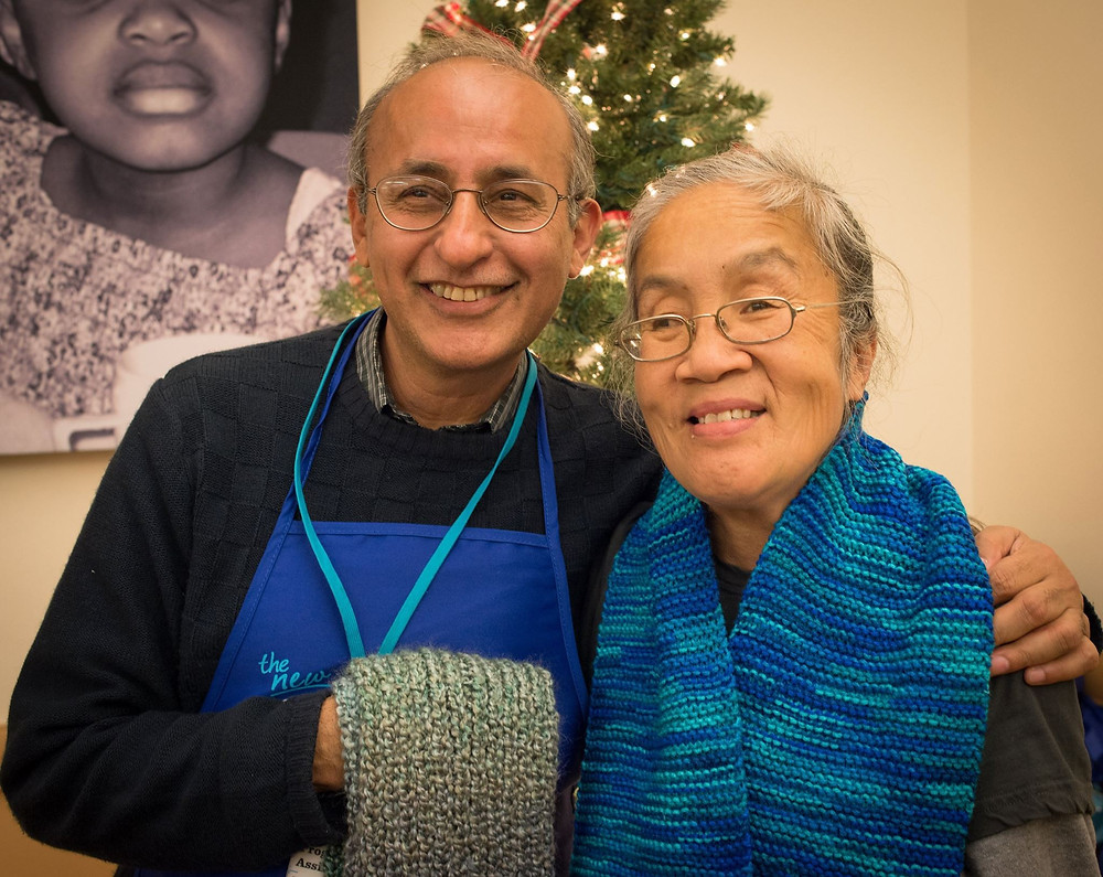Sal and a guest smile at our Holiday Party!