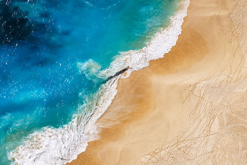 Aerial view to tropical sandy beach and
