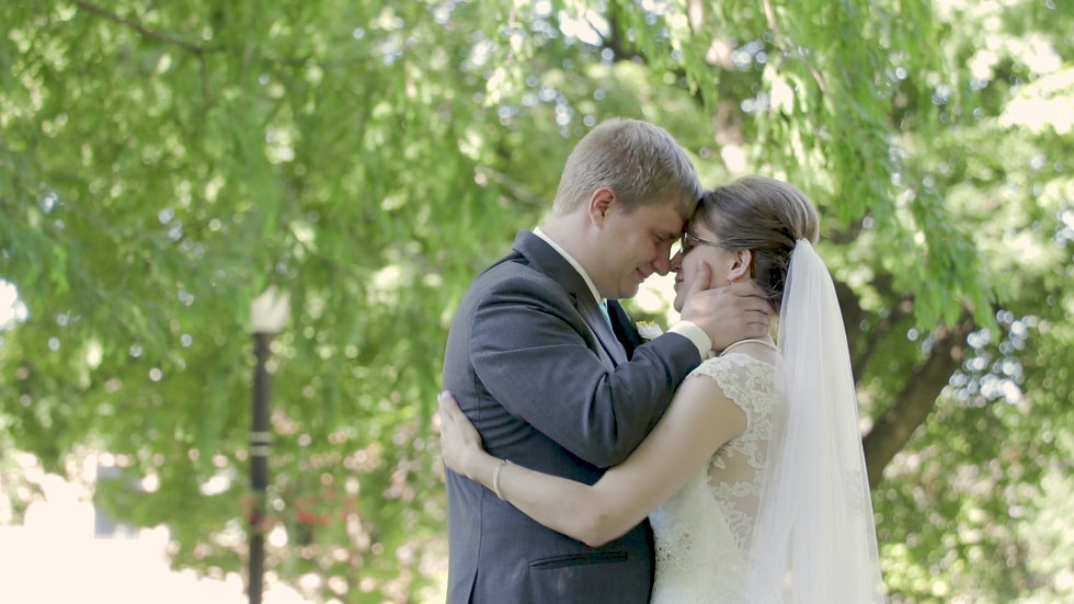 Kyleah and Jeremy embrace each other tightly after their first look, foreheads together