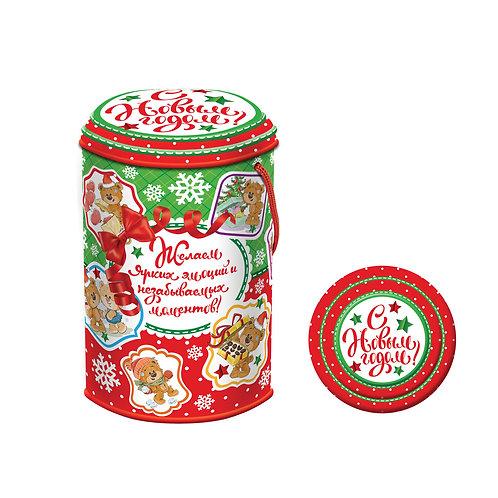 Новогодняя упаковка Цилиндр Мишки Тедди Жесть
