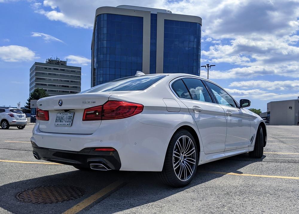 BMW 530e Rear White 2020