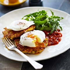zuchhini fritter poached eggs and tomato
