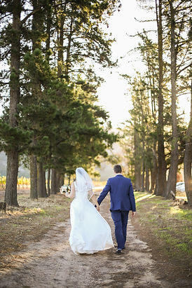 bride and groom walking trees photographed by Zandri du Preez Photography Wedding Photographer Cape Town
