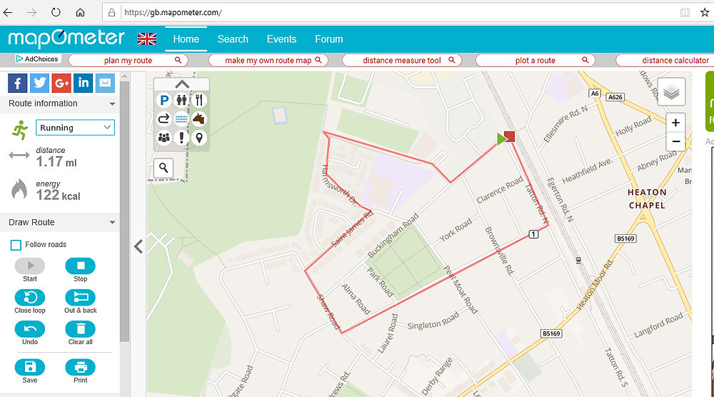 Online Mapometer distance tool to calculate how far you went