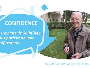 Les confidences de Yves, 88 ans, confiné à St-Maur-des-Fossés