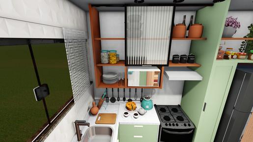 Apartamento IF - Vista 3D da Cozinha