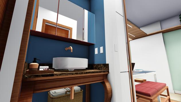 Apartamento IF - Vista 3D do Lavabo