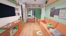 Apartamento IF - Vista 3D da Sala