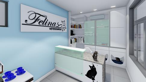 Clínica Felina - 3D da Recepção
