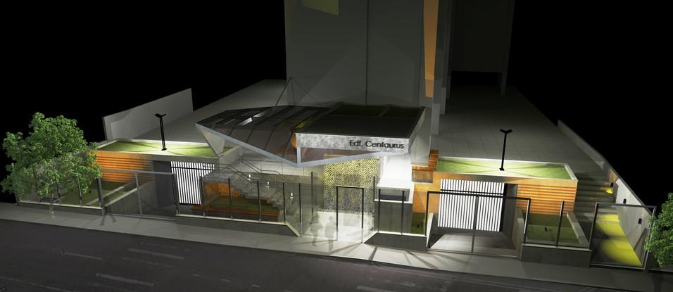 Condomínio Centaurus - Vista 3D Noturna da Entrada