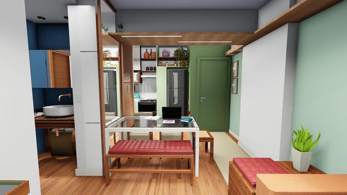 Apartamento IF - Vista 3D da Sala Integrada com Cozinha