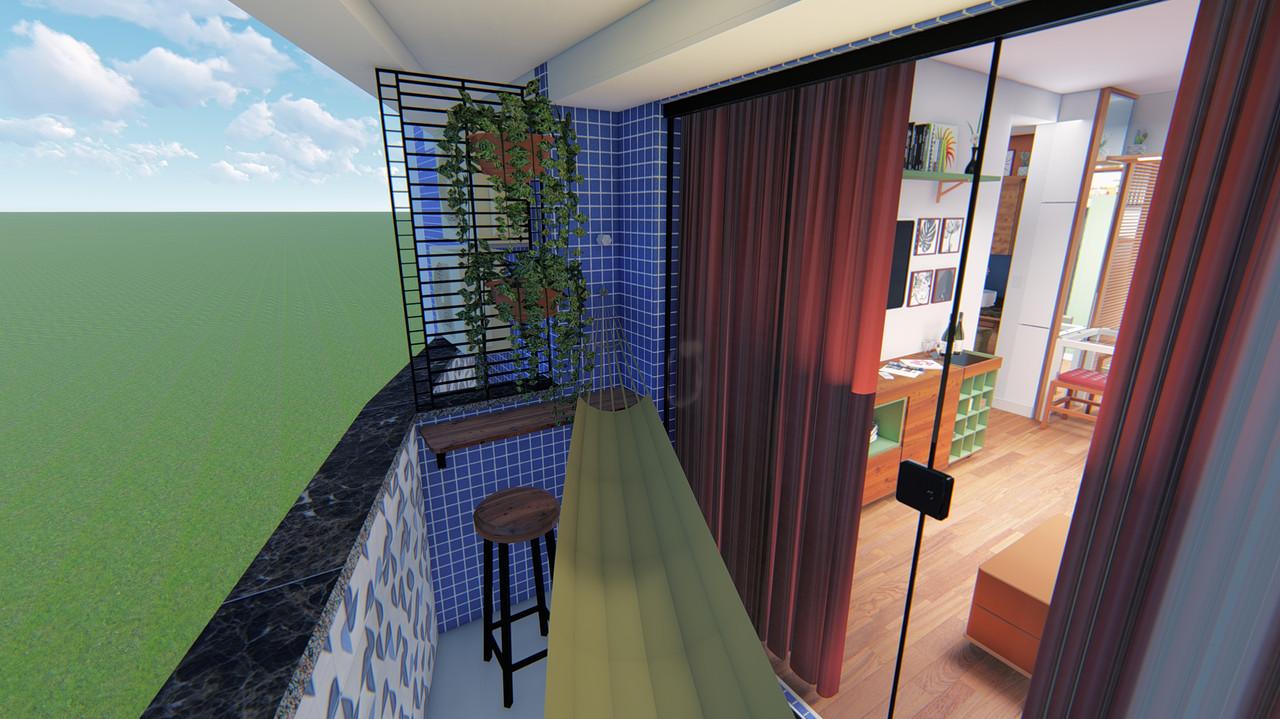 Apartamento IF - Vista 3D da Varanda