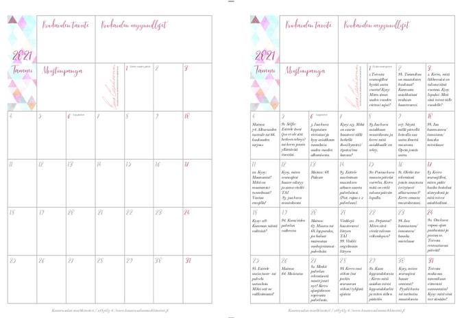 Kalenteripohja ja täytetty kalenteri