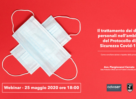 Webinar su Privacy e Protocollo di sicurezza Covid-19