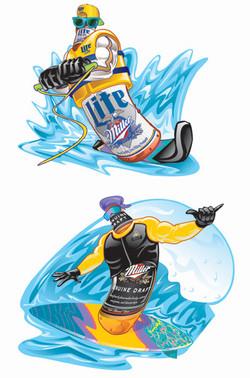 Miller Lite Surf Bottle Art