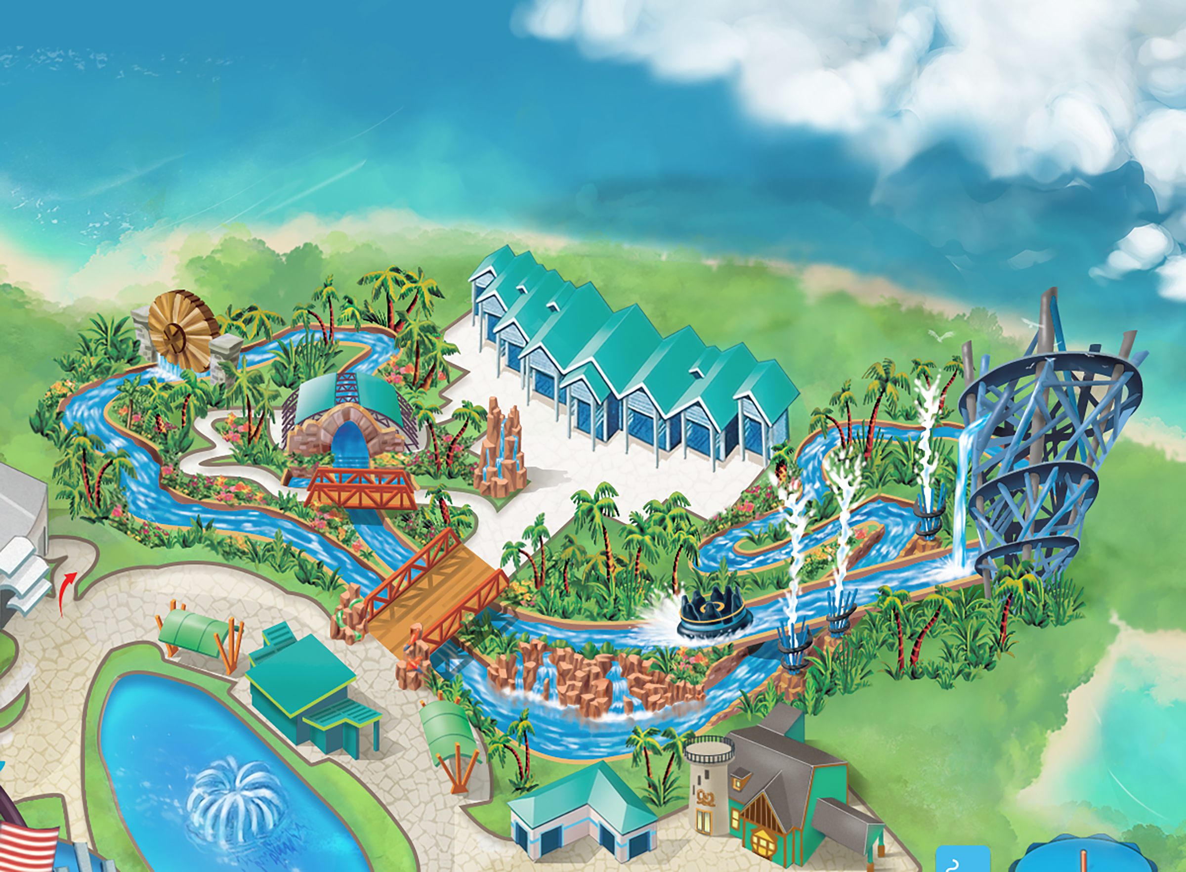 Sea World Infinity Falls Map Art