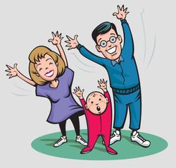 Family Excersing Illustration