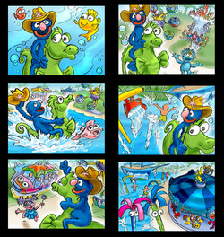 Storyboard Frames for Bay of Play Seawor