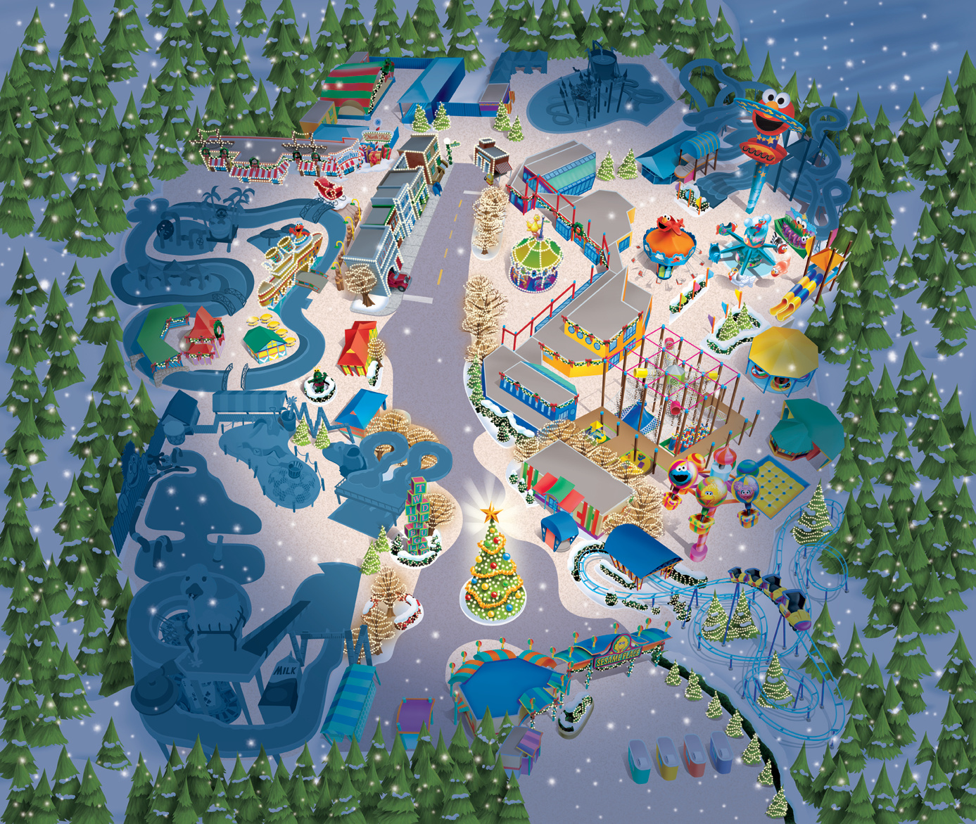 Sesame Place Christmas Map Art