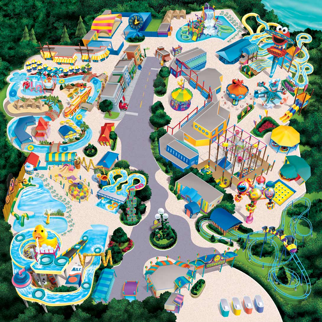 Sesame Place Map Illustration