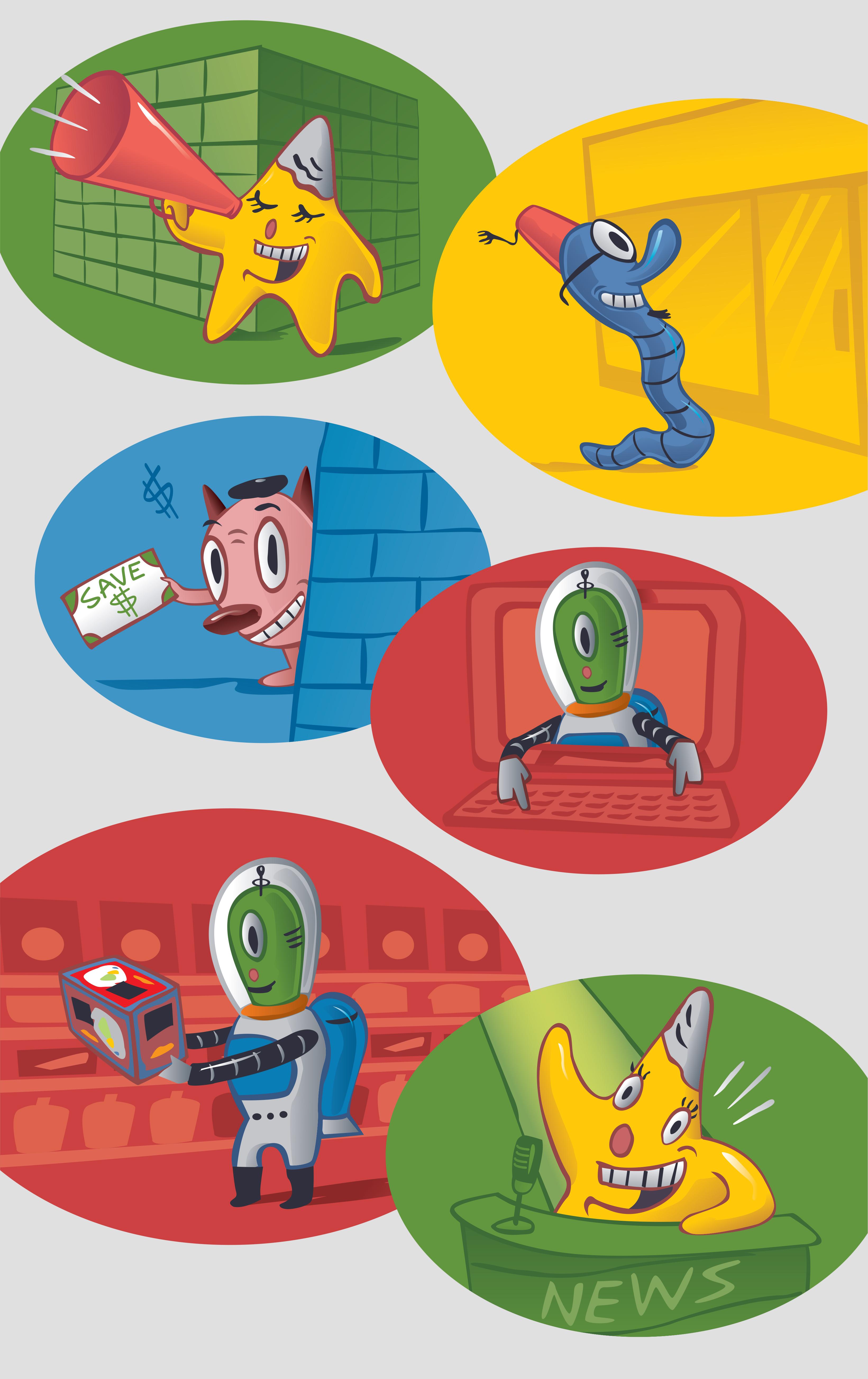Cranium Character Illustrations