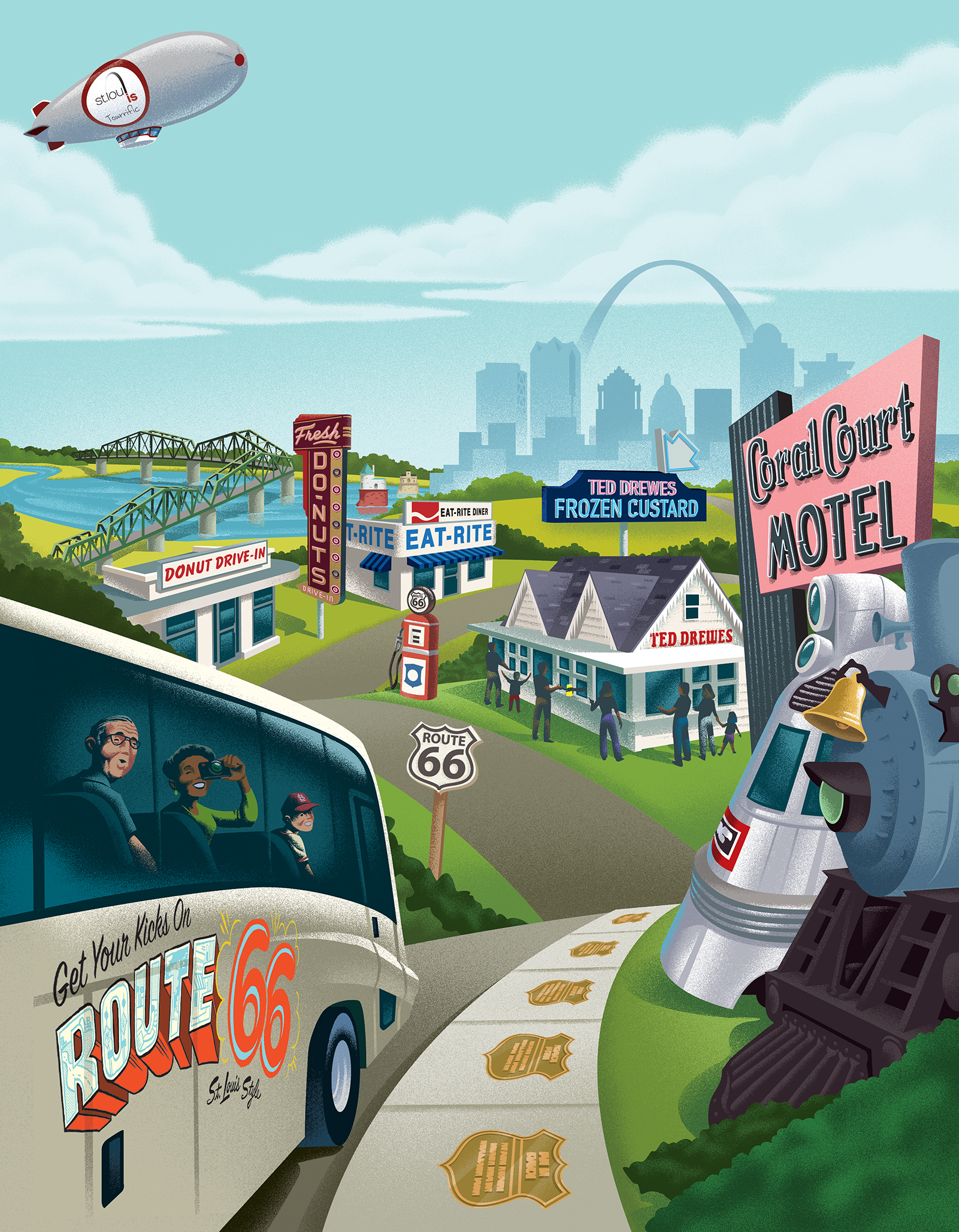 Explore STL Route 66 Ad Art