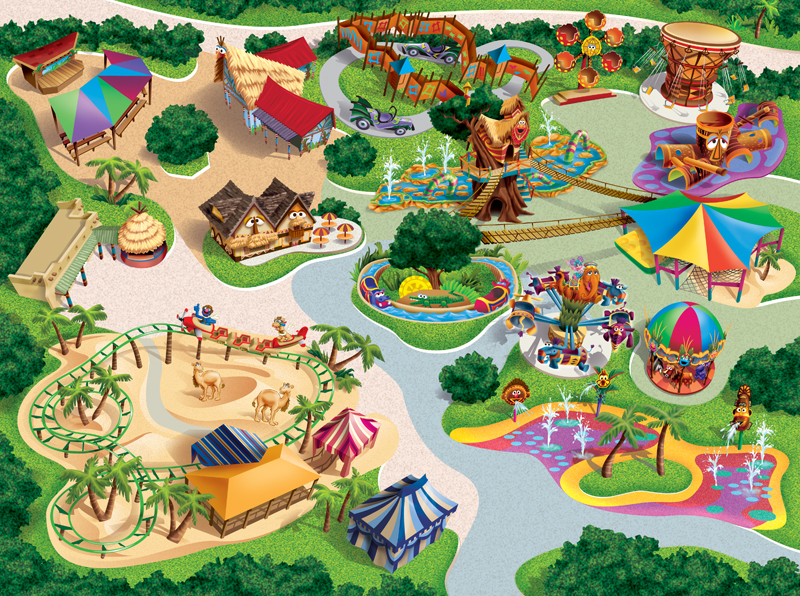 Busch Gardens Safari of Fun Map Art