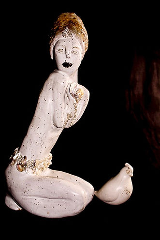 Ceramic sculpture white glaze