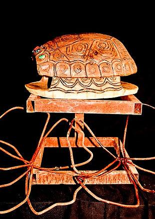 Ceramic Tortoise Shell on Metal Pedestal