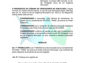 ATO DE PROMULGAÇÃO Nº 001/2020