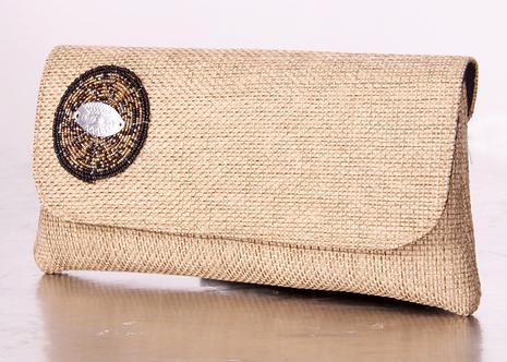 Burlap Clutch Bag