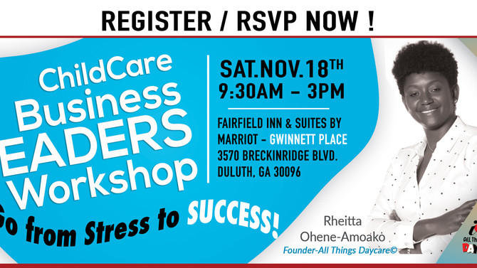 ChildCare Business Leaders Workshop - Go from stress to SUCCESS!