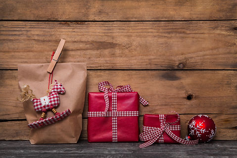 Classical red christmas gifts wrapped in