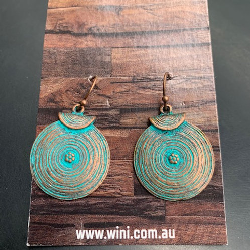 Copper and Turquoise round earring