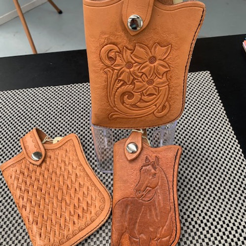 Locally Made Hand Tooled Phone Pouches