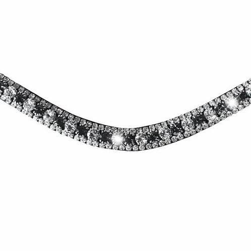 LUMIERSILVER, DEEP WAVE CRYSTAL BROWBAND - (BLACK LEATHER)E